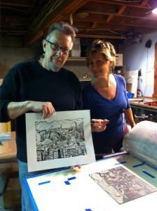 William Evertson and his print Ox Returns to the Market.