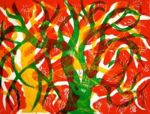 Linocuts of trees