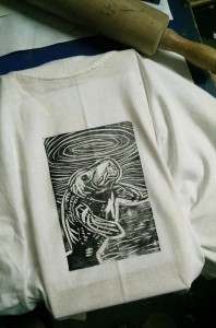 Manatee t-shirt, hand-printed from linocut with rolling pin