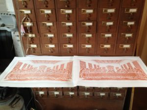 """Relief prints from an old hammered copper """"Last Supper"""""""